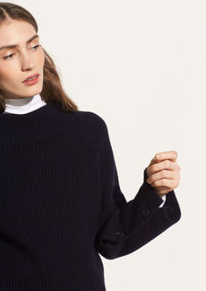 Vince Button Sleeve Funnel Neck