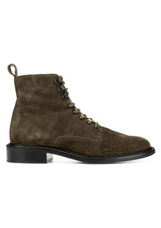 Vince Cabria Shearling-Trim Suede Combat Boots