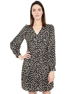 Vince Camuto 3/4 Sleeve Animal Reset V-Neck Button-Down Dress