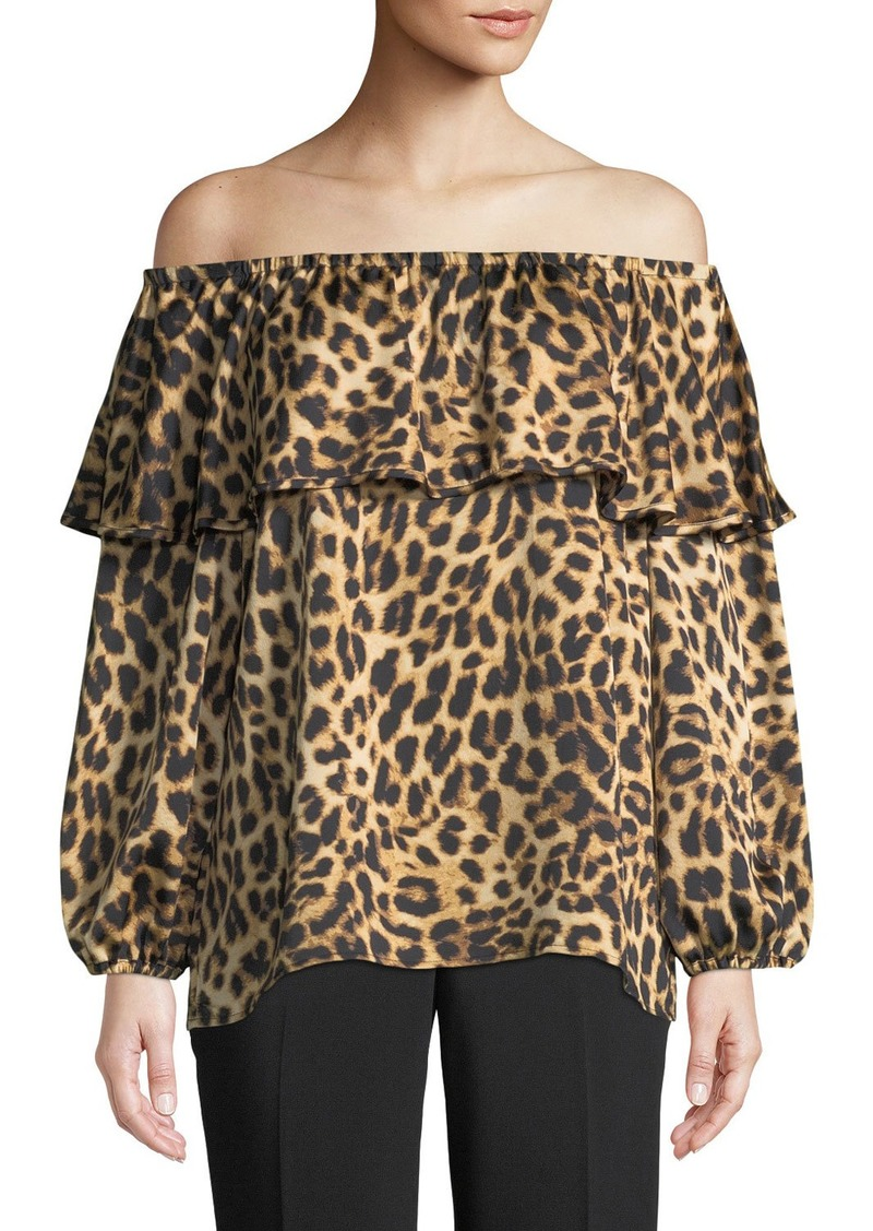 Vince Camuto Animal-Print Off-The-Shoulder Blouse