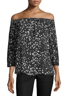 Vince Camuto Animal Whispers Pleated-Sleeve Blouse