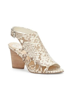 Vince Camuto Ankara Snake-Print Cutout Leather Sandals