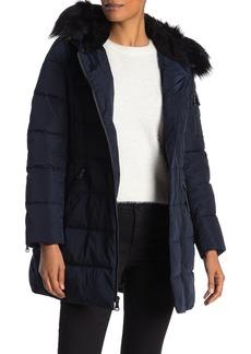 Vince Camuto Asymmetrical Faux Fur Trim Down Jacket