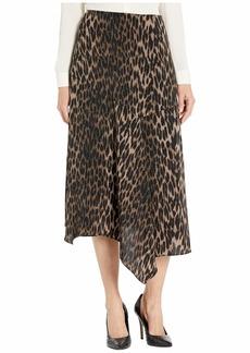 Vince Camuto Asymmetrical Hem Animal Phrases Paneled Skirt