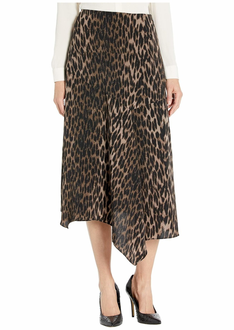 Vince Camuto Asymmetrical Hem Animal Phrases Paneled Skirt