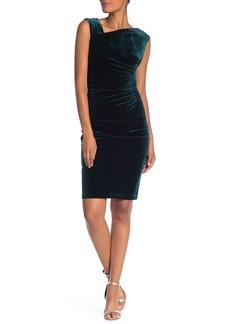 Vince Camuto Asymmetrical Neck Sleeveless Velour Bodycon Dress