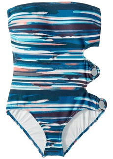 Vince Camuto Bamboo Stripe Ring Side Bandeau One-Piece w/ Removable Soft Cups & Strap