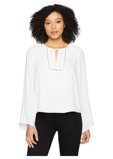 Vince Camuto Bell Sleeve Tassel Tie Neck Blouse with Faggoting
