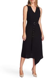 Vince Camuto Belted Asymmetrical Hem Sleeveless Matte Crepe Dress