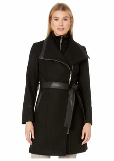 Vince Camuto Belted Asymmetrical Zip Wool Coat with Bib V29763