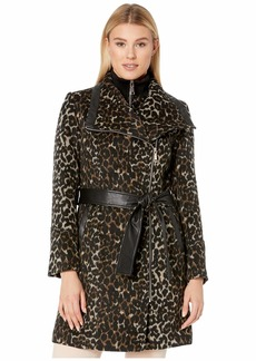 Vince Camuto Belted Asymmetrical Zip Wool Coat with Bib V29763A