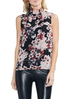 Vince Camuto Blooms Smocked Ruffle Neck Crinkle Blouse