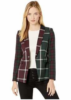 Vince Camuto Bold Plaid Notch Collar Color Block Blazer