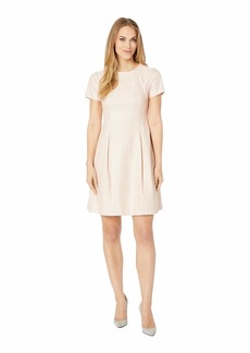 Vince Camuto Bonded Lace Short Sleeve Fit and Flare Dress with Pleats