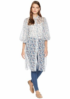 Vince Camuto Bubble Sleeve Boutique Floral Side Tie Tunic