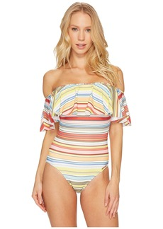 Vince Camuto Cabana Stripes Ruffle Off the Shoulder One-Piece Swimsuit w/ Removable Soft Cups & Strap