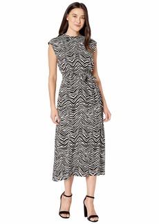 Vince Camuto Cap Sleeve Belted Zebra Peaks Dress