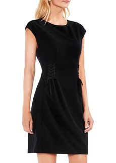 Vince Camuto Cap Sleeve Side Lace-Up Crepe Ponte Dress