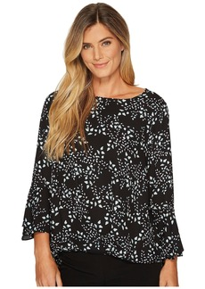Vince Camuto Cascading Leaves Flare Cuff Fold-Over Blouse