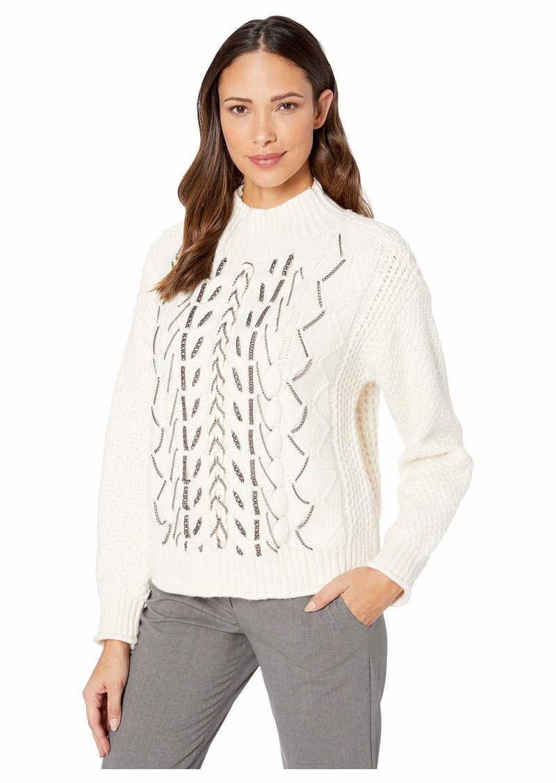 Vince Camuto Chain Trim Cable Stitch Mock Neck Sweater