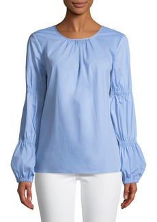 Vince Camuto Cinched-Sleeve Poplin Blouse
