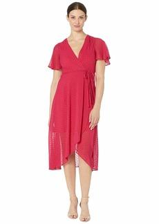 Vince Camuto Clip Dot Tulip Skirt Midi Dress with Flounce Sleeve