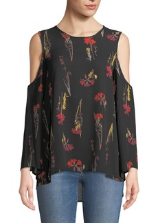Cold-Shoulder Bell-Sleeve Floral Blouse
