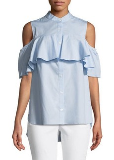 Vince Camuto Cold-Shoulder Button-Front Blouse