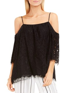 Vince Camuto Cold-Shoulder Geometric Lace Blouse
