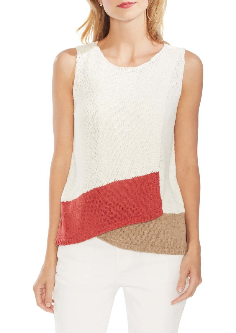 Vince Camuto Colorblock Crossover Sleeveless Cotton Blend Sweater