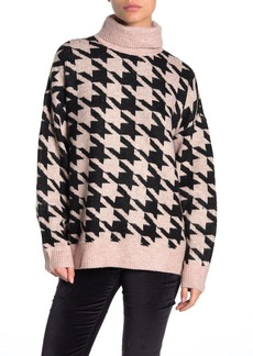 Vince Camuto Cozy Houndstooth Turtleneck Sweater (Petite)
