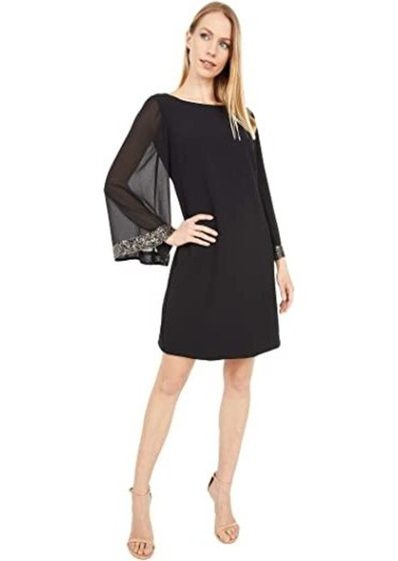 Vince Camuto Crepe Shift Dress with Chiffon Sleeves