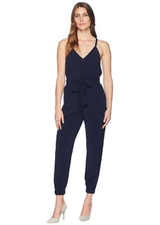 Vince Camuto Crepe Strappy Jumpsuit with Elastic Legs and Tie Waist