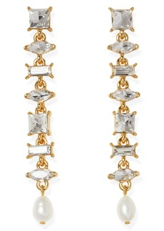 Vince Camuto Crystal Stone Linear Earrings with 8mm Freshwater Pearl Drop Off