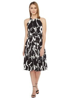 Vince Camuto Cut Out Floral Pleated Belted Halter Dress