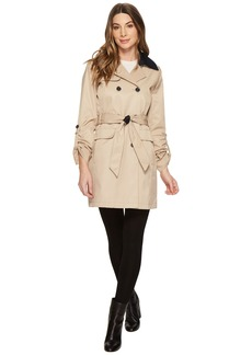 Vince Camuto DB Belted Trench with Contrast Color and Roll Up Sleeves