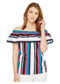 Vince Camuto Del Rio Stripe Off Shoulder Ruffled Blouse
