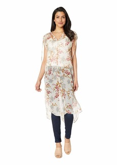 Vince Camuto Drawstring Extend Shoulder Wildflower Long Tunic