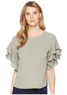 Vince Camuto Drop Shoulder Tiered Sleeve Textured Blouse