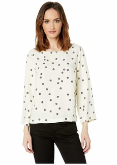 Vince Camuto Elbow Sleeve Ditsy Re-Set Side Snap Blouse