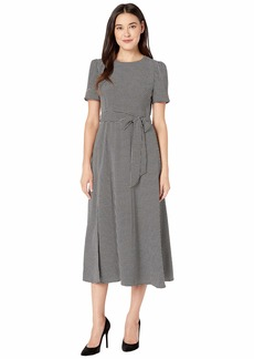 Vince Camuto Elbow Sleeve Mini Houndstooth Belted Dress