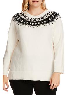 Vince Camuto Embellished Yoke Cotton Blend Sweater