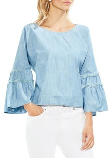 Vince Camuto Extend Shoulder Bell-Sleeve Cotton Blouse