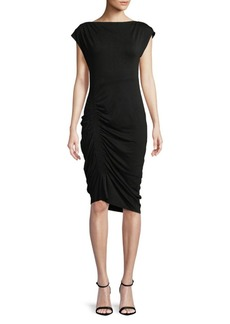 Vince Camuto Extend Shoulder Mockneck Side Ruched Knee-Length Dress