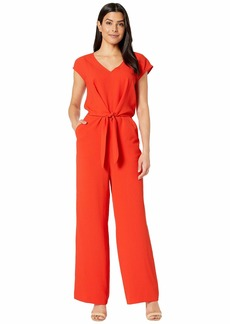 Vince Camuto Extend Shoulder Tie Front V-Neck Jumpsuit