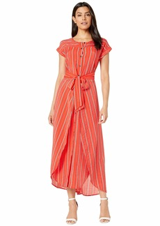 Vince Camuto Extended Shoulder Chic Stripe Wrap Waist Dress