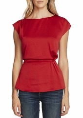 Vince Camuto Extended Shoulder Cinch Waist Rumple Hammer Blouse