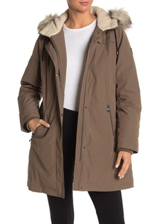 Vince Camuto Faux Fur Hood Lined & Trim Down Parka