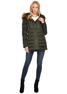 Vince Camuto Faux Fur Hooded Down with Contrast Piping N8791