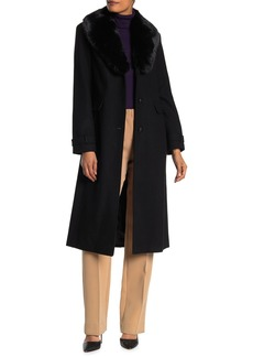 Vince Camuto Faux Fur Shawl Collar Wool Coat